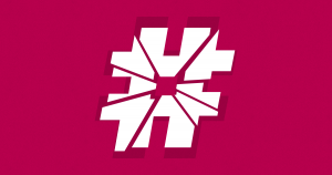 An illustration of a broken hashtag symbol with background texture from subtlepatterns.com